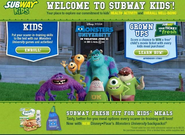 Subway's Monsters University Film Promotion